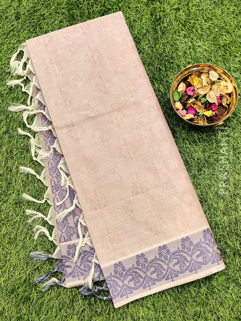Coimbatore Cotton Saree pastal shade and violet with allover thread emboss and woven border