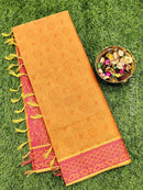 Coimbatore Cotton Saree mustard and pink with allover thread emboss and woven border