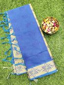 Coimbatore Cotton Saree blue and beige with allover thread emboss and woven border