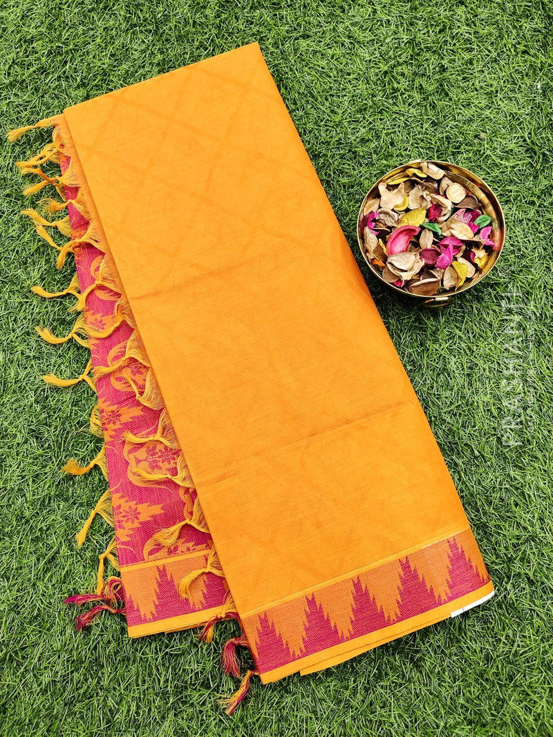 Coimbatore Cotton Saree orange and pink with allover thread emboss and woven border