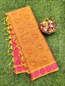 Coimbatore Cotton Saree dual shade of rust and pink with allover thread emboss and woven border