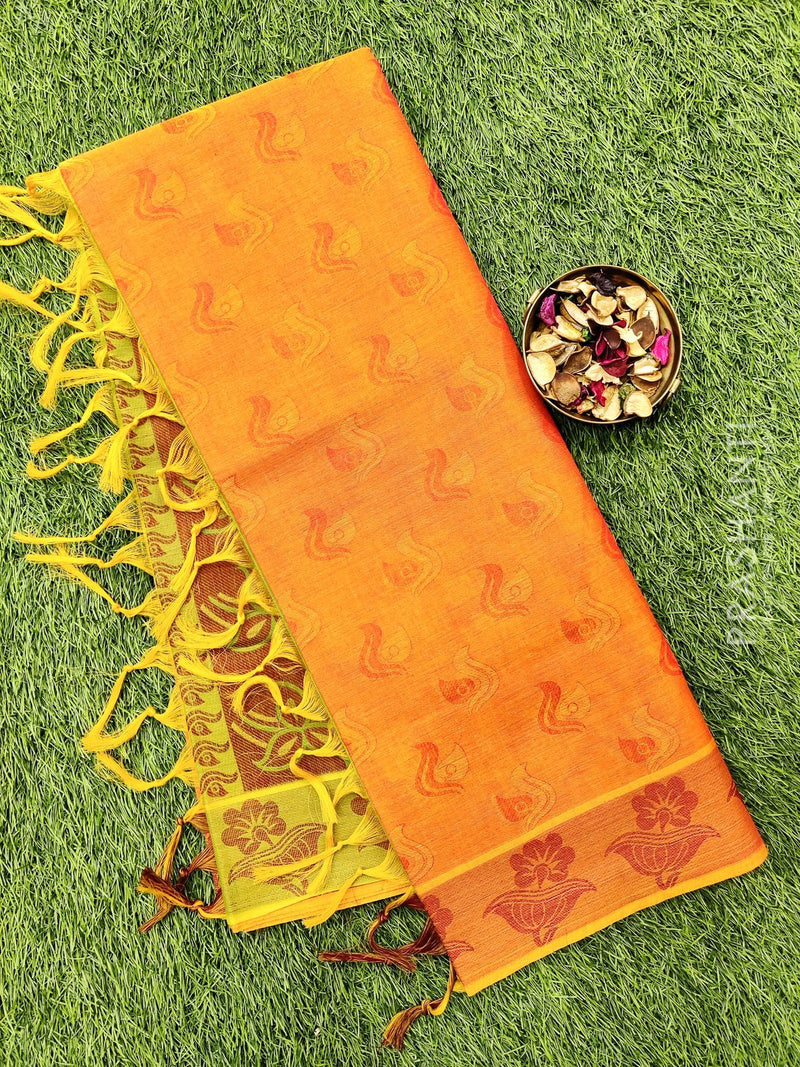 Coimbatore Cotton Saree orange and green with allover thread emboss and woven border