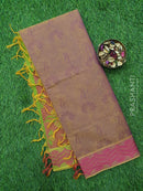 Coimbatore Cotton Saree dual shade of purple and pink with allover thread emboss and woven border