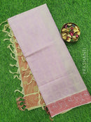 Coimbatore Cotton Saree lavander shade and red with allover thread emboss and woven border