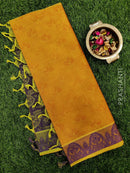 Coimbatore Cotton Saree mustard and blue with allover thread emboss and woven border