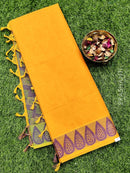 Coimbatore Cotton Saree yellow and green with allover thread emboss and woven border