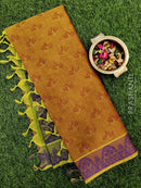 Coimbatore Cotton Saree mustard and violet with allover thread emboss and woven border