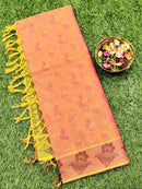 Coimbatore Cotton Saree dual shade of pink and green with allover thread emboss and woven border