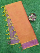 Coimbatore Cotton Saree dual shade of orange and purple with allover thread emboss and woven border