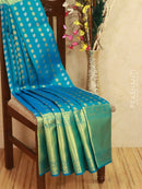 Pure Kanjivaram silk saree blue with zari woven buttas and kanchivaram border