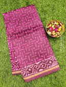 Chanderi bagru printed saree maroon and pink with tie and dye prints and piping zari border