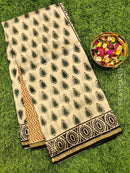 Chanderi bagru printed saree beige and black with all over prints