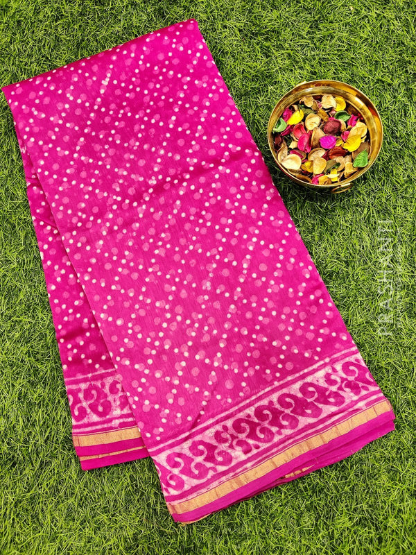 Chanderi bagru printed saree pink with butta style prints and piping zari border