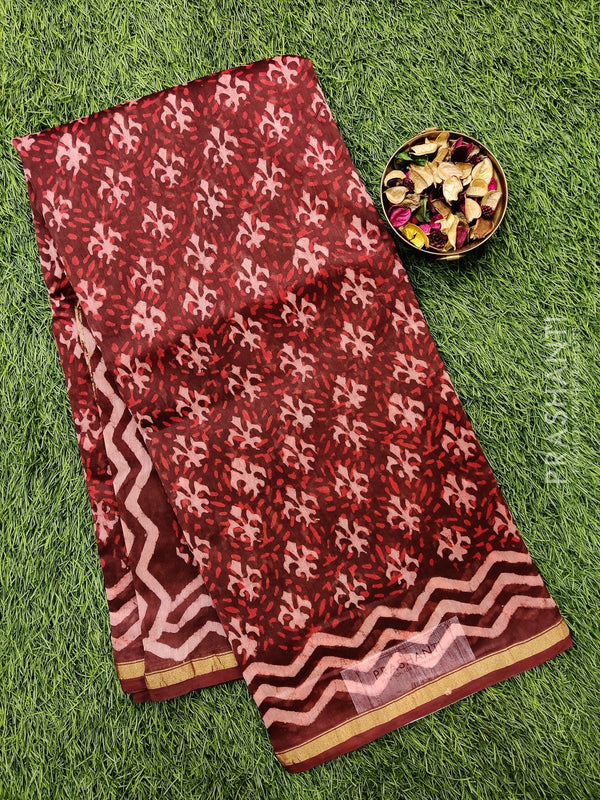 Chanderi bagru printed saree maroon and beige with all over prints and piping zari border