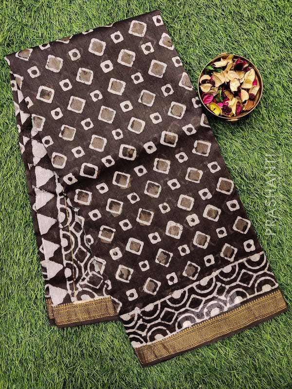 Chanderi bagru printed saree elephant grey with tie and dye prints and zari border