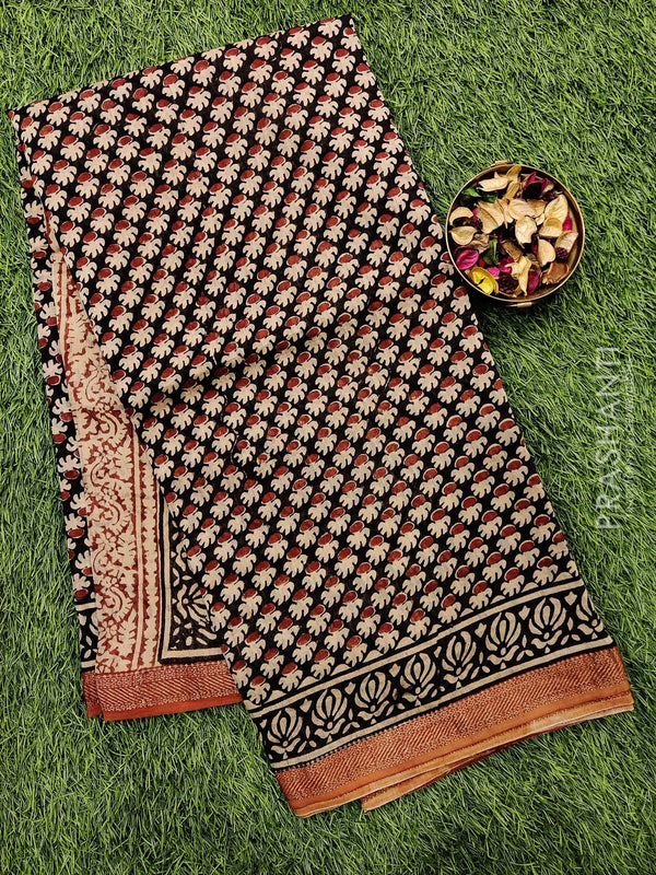 Chanderi bagru printed saree black and brown with all over prints and zari border