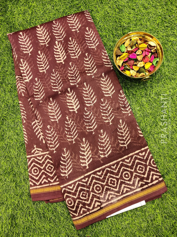 Chanderi bagru printed saree grape wine with all over prints and piping zari border