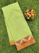 Manipuri Kota saree green with thread and zari woven border