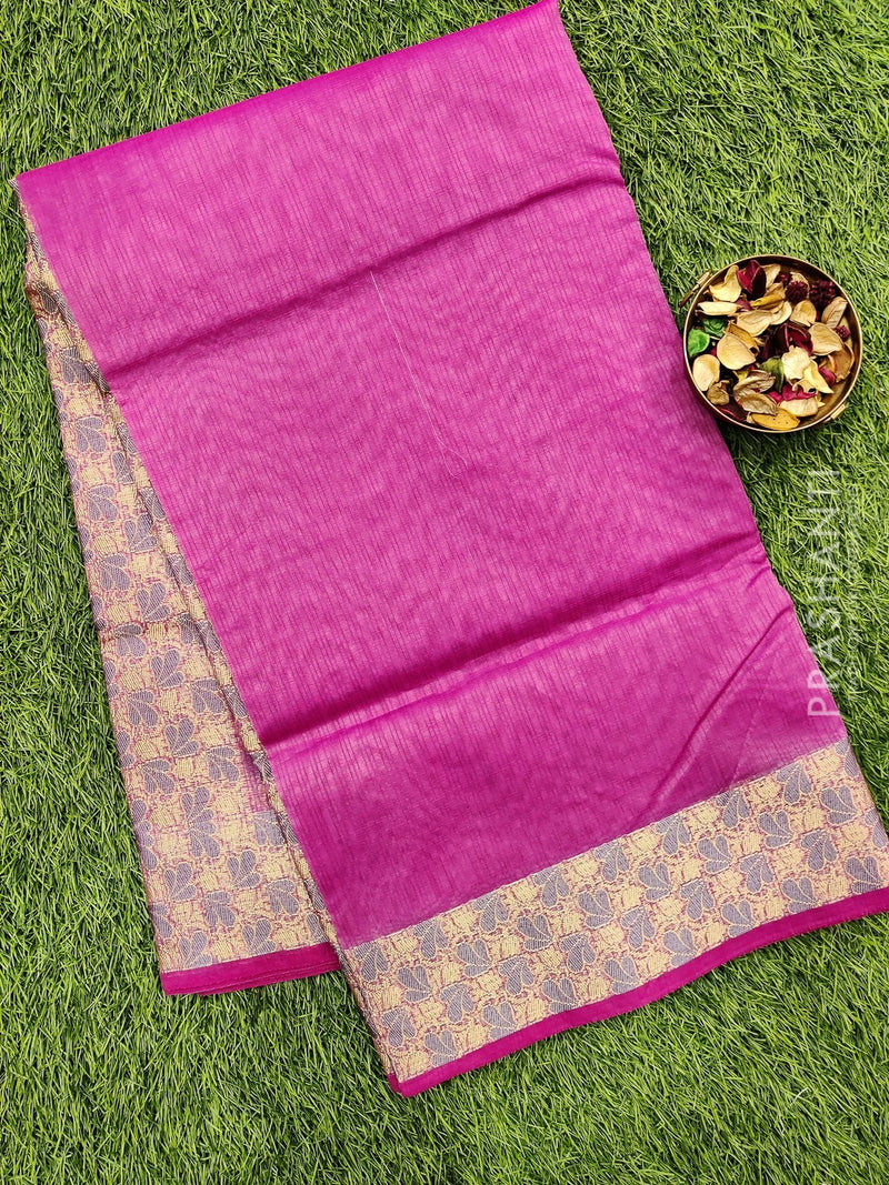 Manipuri Kota saree pink with thread woven border
