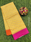 Manipuri Kota saree yellow and pink with allover zari weaves and simple border