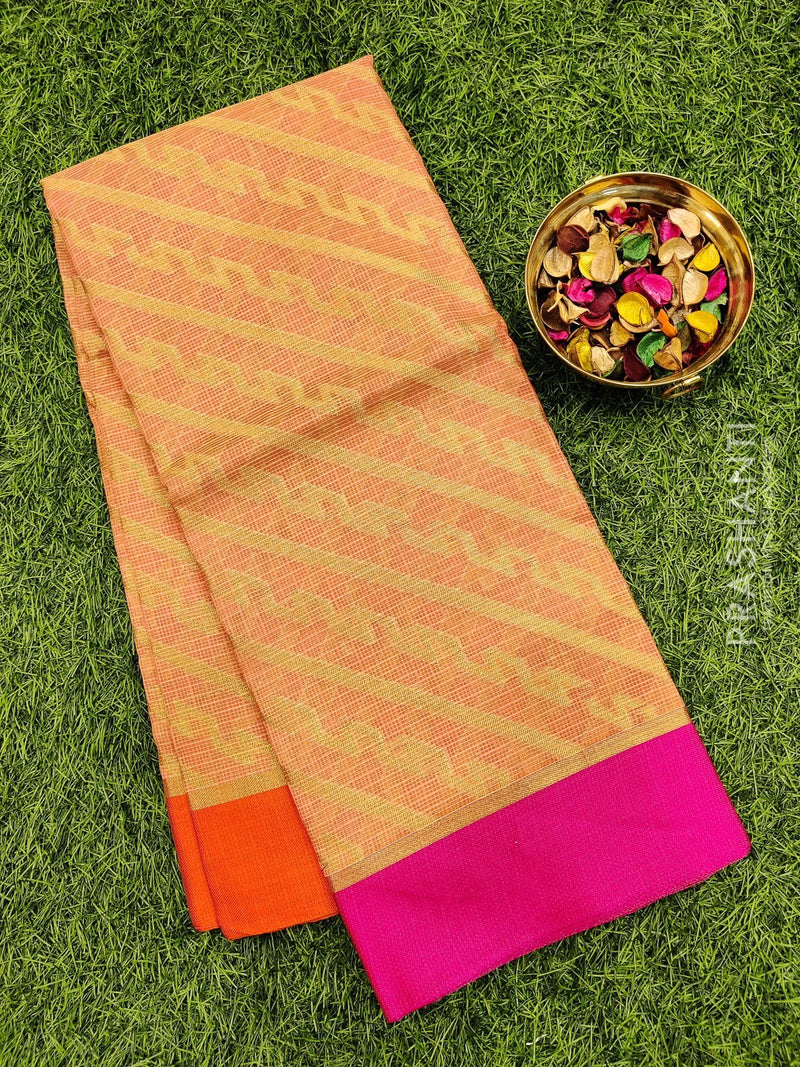 Manipuri Kota saree peach and orange with allover zari weaves and simple border