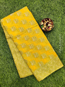 Manipuri Kota saree mango yellow with thread woven buttas and border