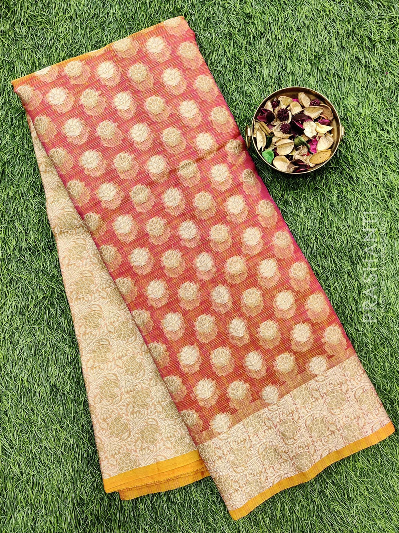 Manipuri Kota saree dual shade of pink with thread woven buttas and border
