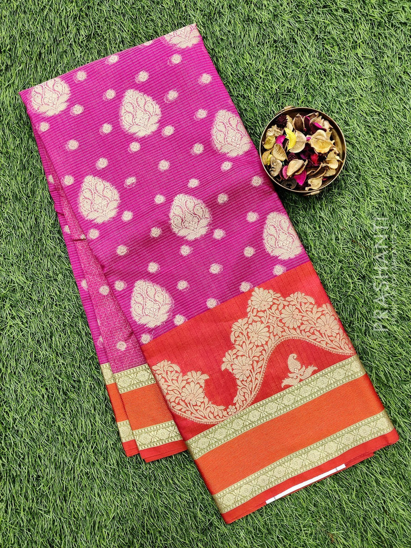 Manipuri Kota saree pink and orange with thread and zari woven border