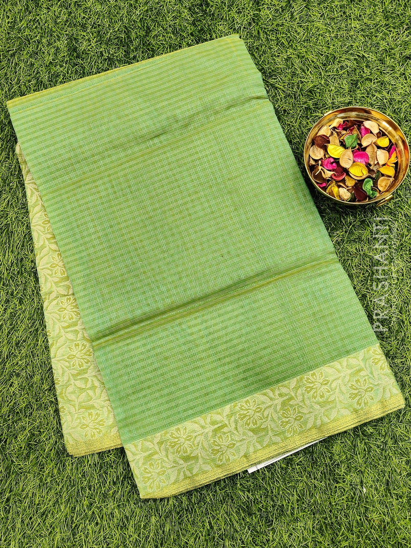 Manipuri Kota saree dual shade of green and beige with thread woven border