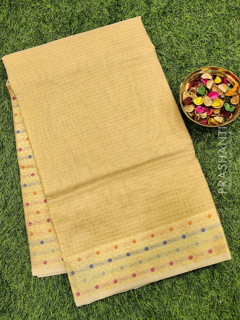 Manipuri Kota saree beige with thread woven border