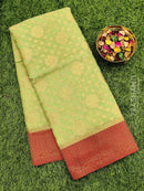 Manipuri Kota saree green and red with allover zari weaves and thread woven border