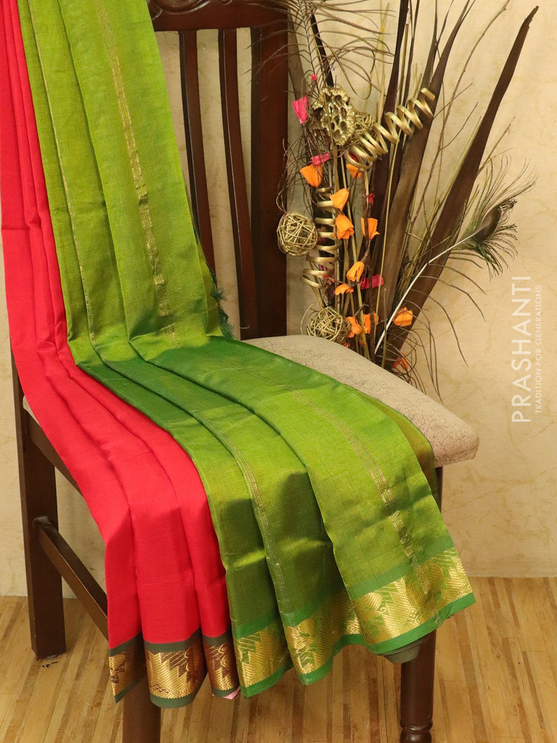 Silk cotton saree red and green with zari woven border