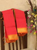 Silk cotton saree red and mustard with simple zari woven border