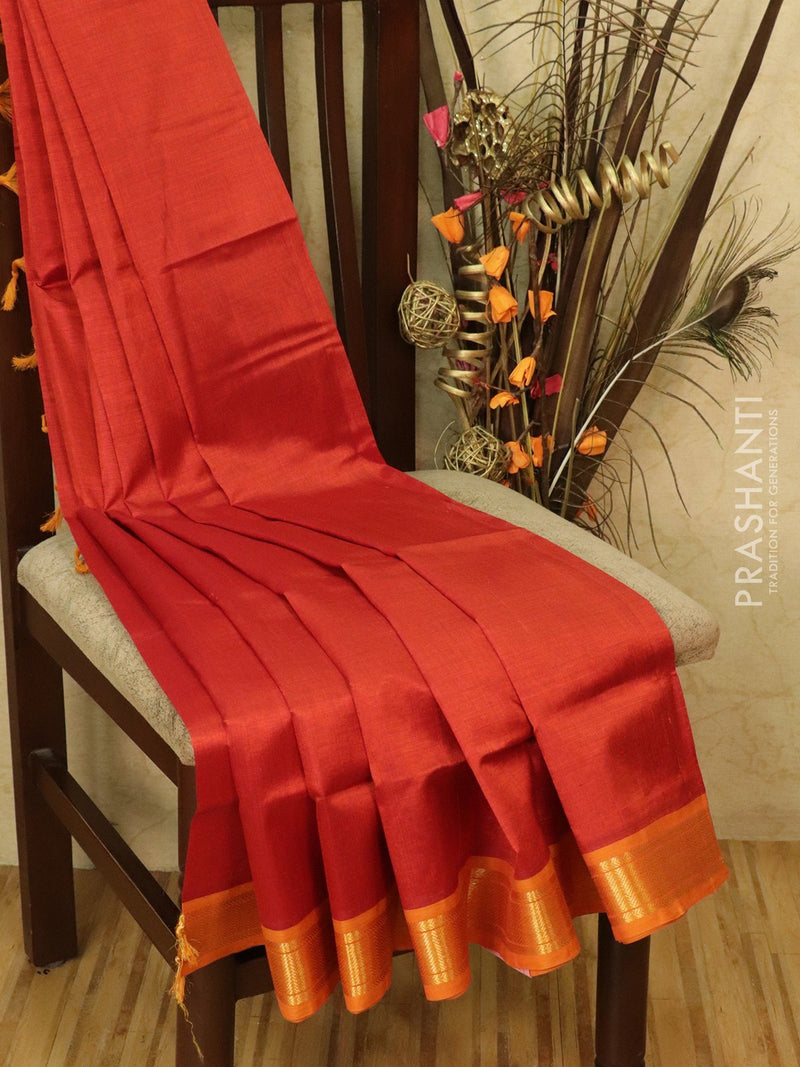 Silk cotton saree rust orange and mustard with simple zari woven border