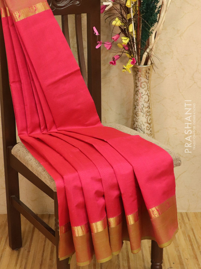 Silk cotton saree pink and green with simple zari border