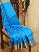 Silk cotton saree blue and red with kaddi zari woven border