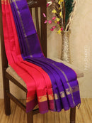 Silk cotton saree pink and violet with simple zari woven border