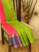 Silk cotton saree pink and green with rettapet zari woven border