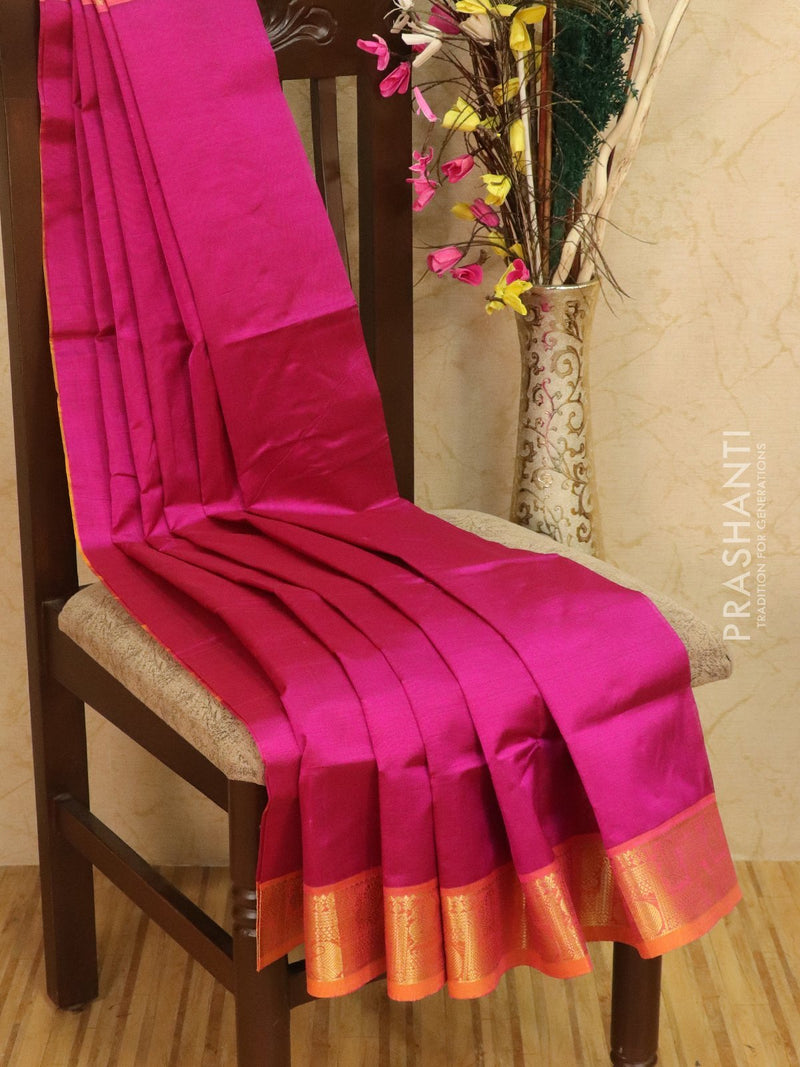 Silk cotton saree pink and mustard with rich zari woven border