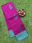 South kota saree magenta pink and green with leaf butta and simple border