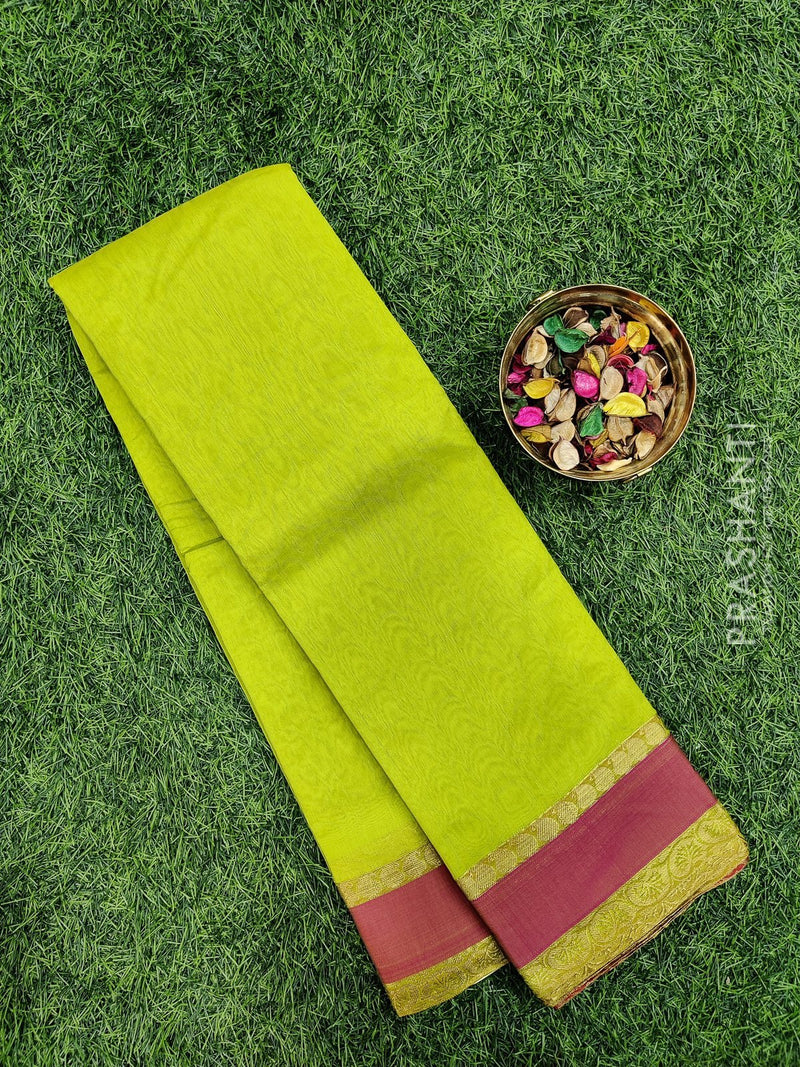 South kota saree light green and pink with self emboss and simple border