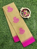 South kota saree beige and pink with paisley buttas and simple border