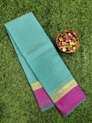 South kota saree blue and pink with simple border and self emboss pattern