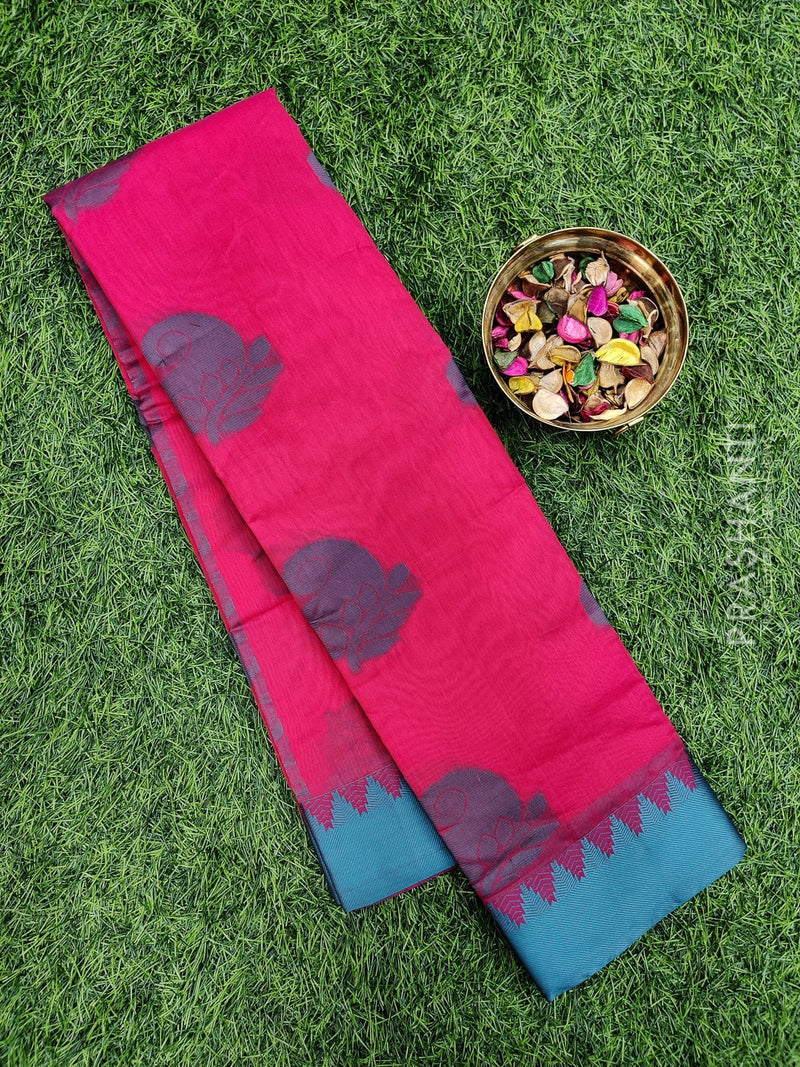 South kota saree pink and green with simple border and body buttas
