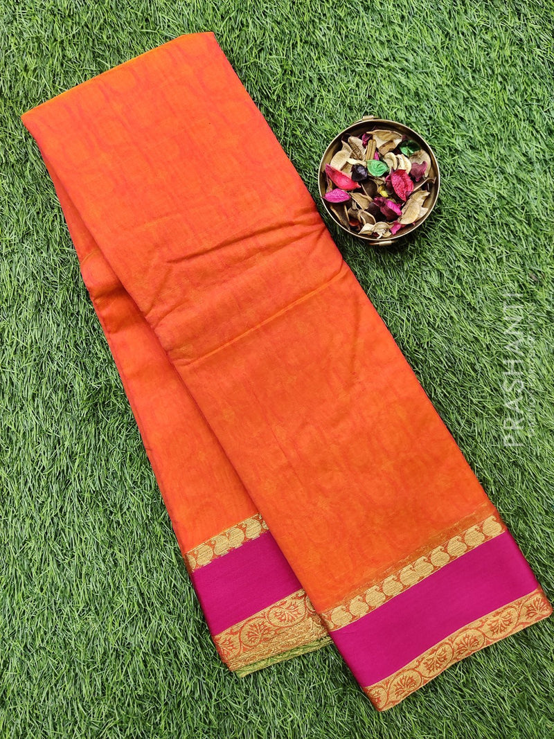 South kota saree dual shade of orange and pink with simple border and self emboss pattern