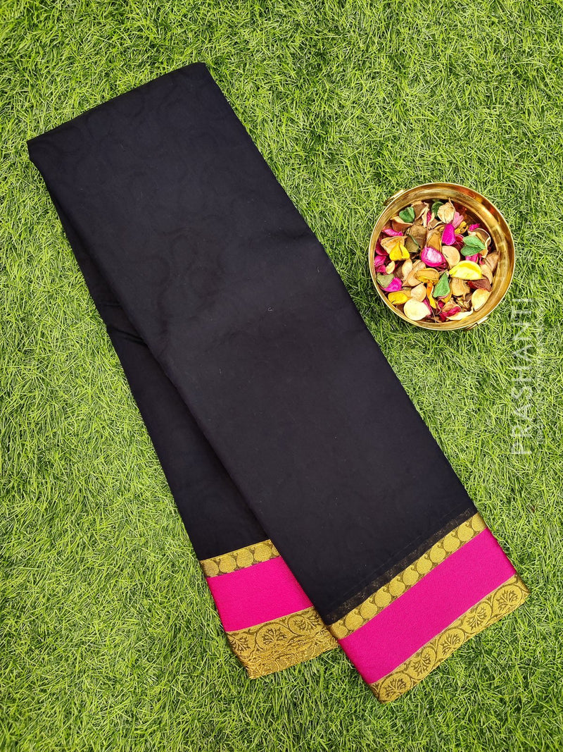 South kota saree navy blue and pink with simple border and self emboss pattern