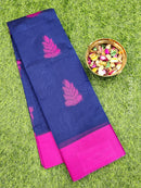 South kota saree navy blue and magenta with simple border and body buttas
