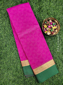 South kota saree pink and green with simple border and self emboss pattern