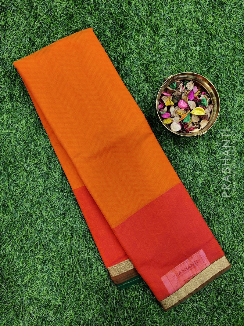 South kota saree orange and pink with simple border and self emboss pattern