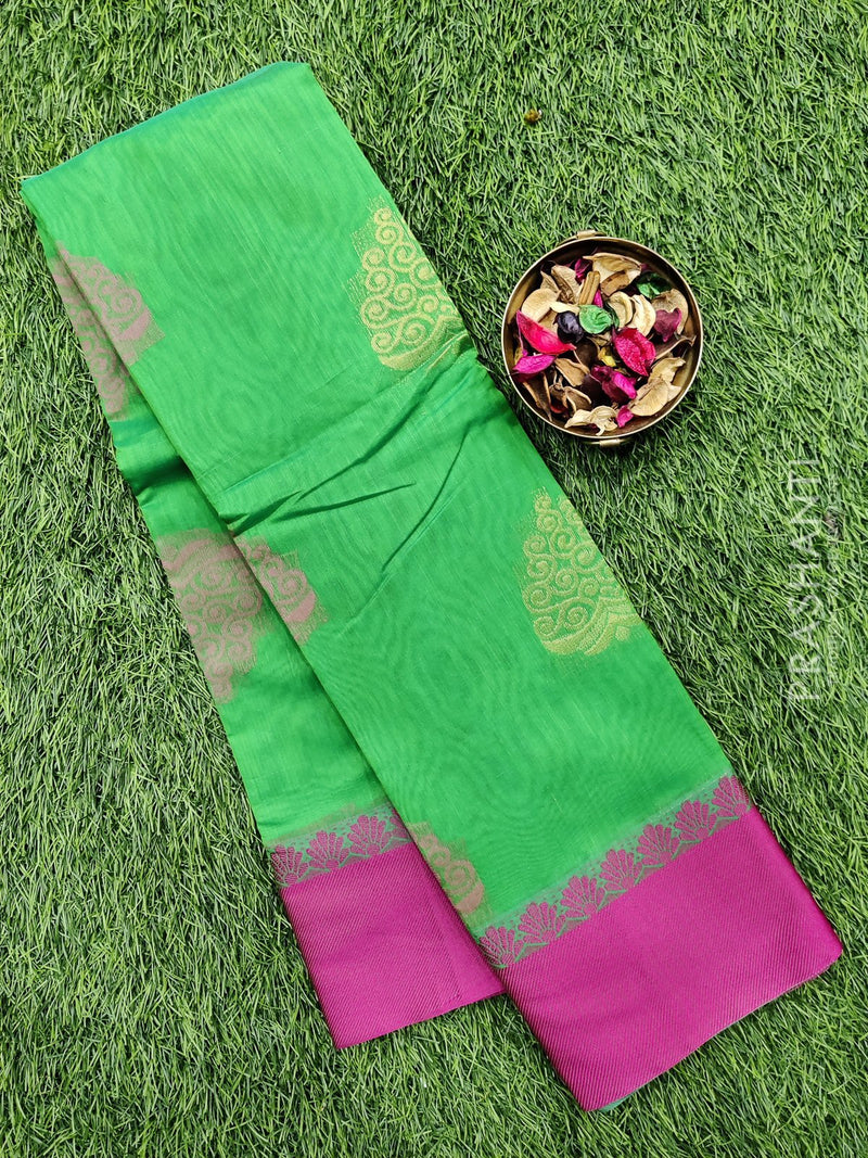 South kota saree green and pink with simple border and body buttas
